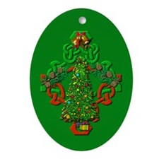 Celtic Yule on Green Oval Ornament