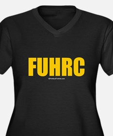FUHRC Women's Plus Size V-Neck Dark T-Shirt