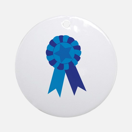 Blue Ribbon Ornament (Round)