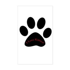 Paw Print I love Kitties Rectangle Decal