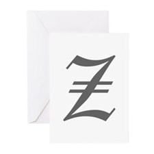 Z-oet gray Greeting Cards
