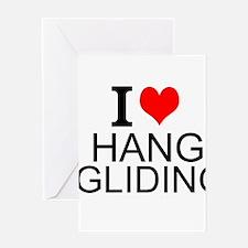 I Love Hang Gliding Greeting Cards