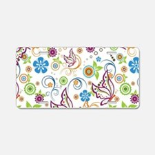 Colorful Butterflies And Fl Aluminum License Plate