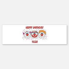 Happy Birthday TESSA (clowns) Bumper Car Car Sticker
