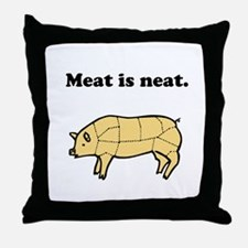 Meat is neat. Throw Pillow