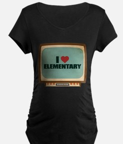 Retro I Heart Elementary Dark Maternity T-Shirt
