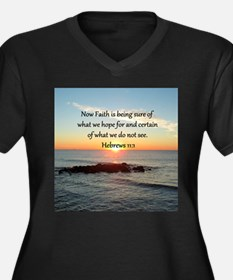 HEBREWS 11 Women's Plus Size V-Neck Dark T-Shirt