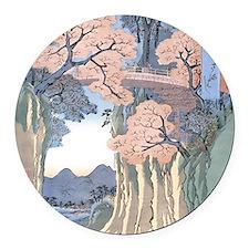 Monkey Bridge Kai, Hiroshige Round Car Magnet
