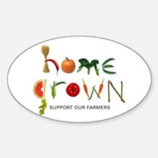 Home Grown. Support our Farme Oval Decal
