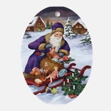 Santa Claus Christmas Oval Ornament