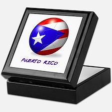 Puerto Rico Flag Soccer Ball Keepsake Box
