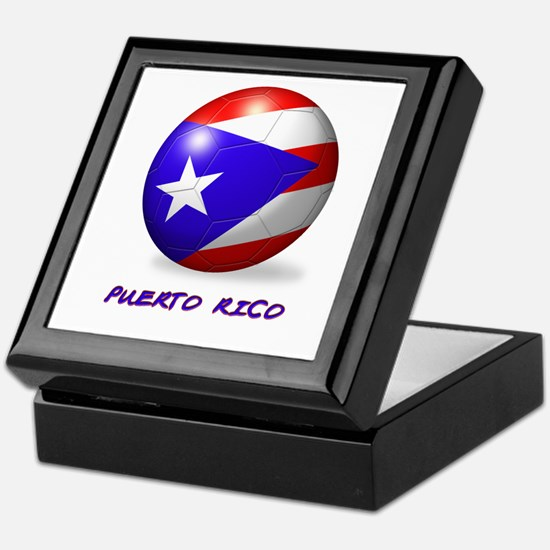 Puerto Rico Flag Soccer Ball Keepsake Box