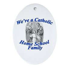 Catholic Home School Family Oval Ornament