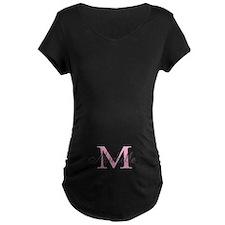 Personalized pink monogram Maternity T-Shirt