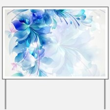 Abstract floral background blue and whit Yard Sign