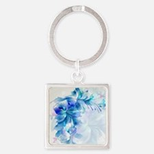Abstract floral background blue and whit Keychains