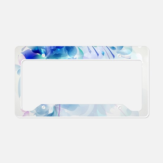 Abstract floral background bl License Plate Holder