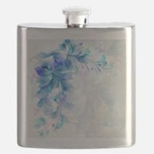 Abstract floral background blue and white mo Flask