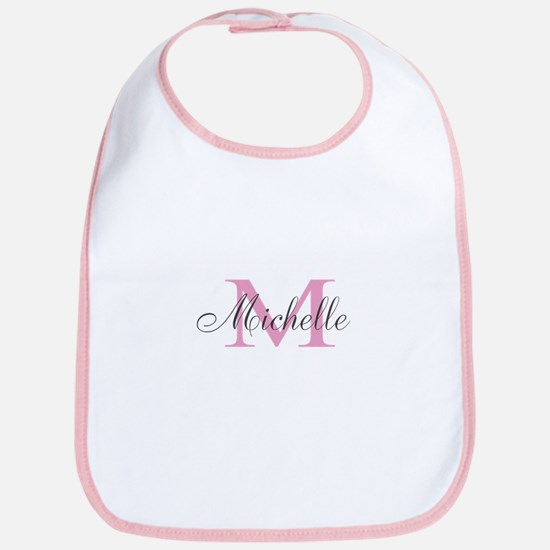 Personalized Girly Pink Monogram Baby Bib