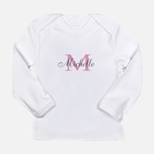 Personalized pink monogram Long Sleeve T-Shirt