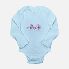 Personalized pink monogram Body Suit