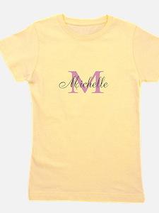 Custom Pink Name Monogram Letter Girl's Tee