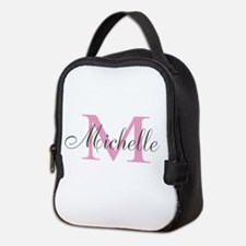 Personalized pink monogram Neoprene Lunch Bag