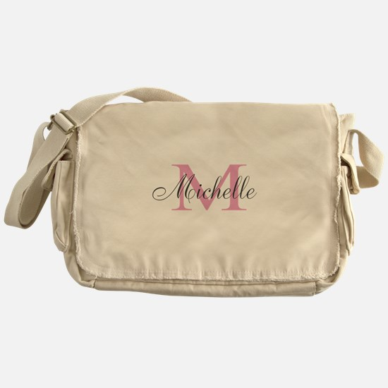 Personalized pink monogram Messenger Bag