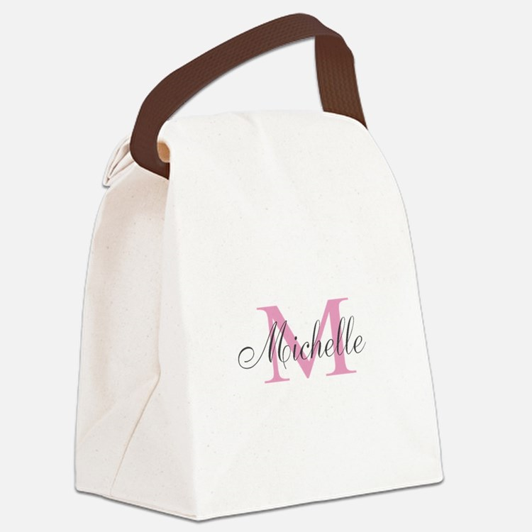 Personalized pink monogram Canvas Lunch Bag