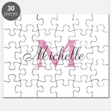 Personalized pink monogram Puzzle