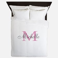 Personalized Elegant Pink Monogram Queen Duvet