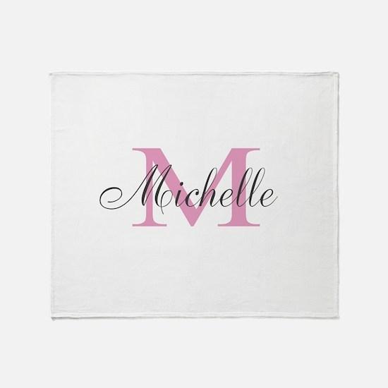 Personalized pink monogram Throw Blanket