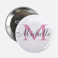 "Personalized pink monogram 2.25"" Button (10 pack)"