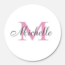 Personalized pink monogram Round Car Magnet