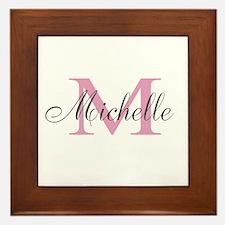 Personalized pink monogram Framed Tile