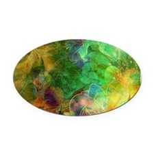 Colorful Abstract Floral Collage Oval Car Magnet