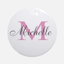 Personalized pink monogram Ornament (Round)