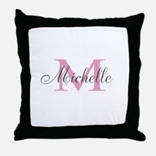 Custom Girly Pink Monogrammed Name Throw Pillow