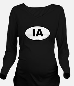 Iowa IA Euro Oval Long Sleeve Maternity T-Shirt