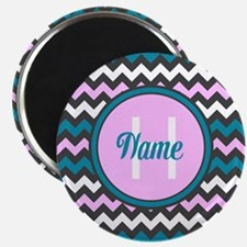 Pink and Blue Chevron Name and Initial Magnets