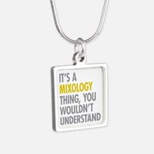 Its A Mixology Thing Silver Square Necklace
