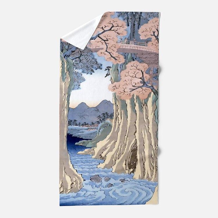 Monkey Bridge Kai, Hiroshige Beach Towel