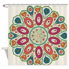 Tropical Henna Pattern Folk Art Pea Shower Curtain