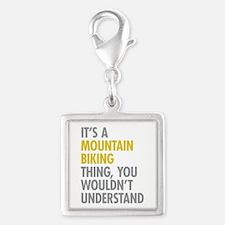 Mountain Biking Thing Silver Square Charm