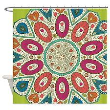 Lime Tropical Henna Pattern Folk Ar Shower Curtain