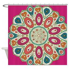 Fuchsia Tropical Henna Pattern Folk Shower Curtain