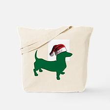 Christmas Green Dachshund Tote Bag
