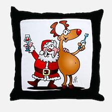 Santa Claus and his Reindeer Throw Pillow
