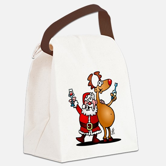 Santa Claus and his Reindeer Canvas Lunch Bag