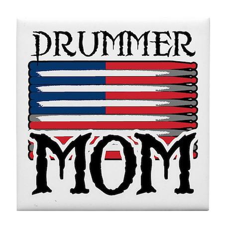Drummer Mom USA Flag Drum Tile Coaster